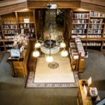 looking down into the fiction section at thomas beaver free library