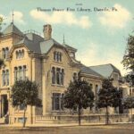 postcard art of the library