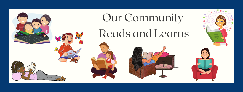 thomas beaver free our community reads and learns banner with children reading