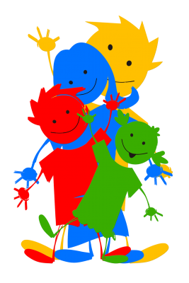 colorful graphic of family members